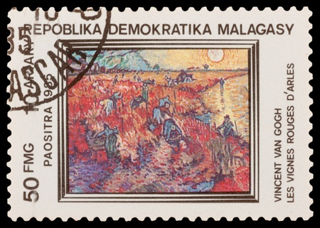MALAGASY - CIRCA 1985: A stamp printed in the MALAGASY, shows paint by artist Vincent van Gogh