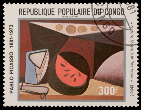 pablo: CONGO - CIRCA 1981: Un francobollo stampato in CONGO, mostra dipinto di Pablo Picaso, circa 1981