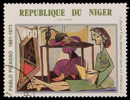 pablo picasso: NIGER - CIRCA 1981: A stamp printed in the NIGER, shows painting by Pablo Picaso, circa 1981