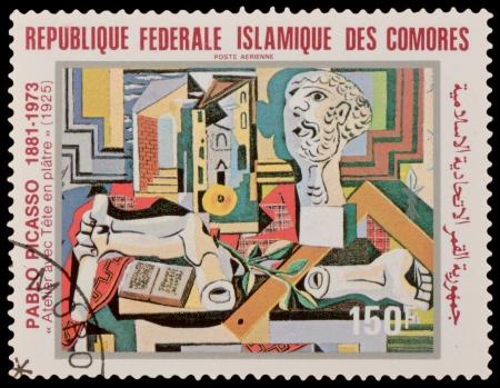 comores: COMORES - CIRCA 1981: A stamp printed in the COMORES, shows painting by Pablo Picaso, circa 1981