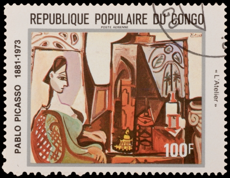 printmaker: CONGO - CIRCA 1981: A stamp printed in the CONGO, shows painting by Pablo Picaso, circa 1981