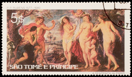 E. TOME AND PRINCIPE - CIRCA 1979: A stamp printed in the E. TOME AND PRINCIPE, shows painting by Rubens (1577-1640), circa 1979