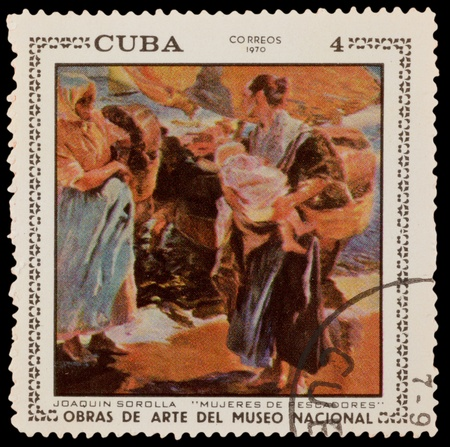 sorolla: CUBA - CIRCA 1970: A stamp printed in the CUBA, shows fishermens wives by Joaquin Sorolla, circa 1970