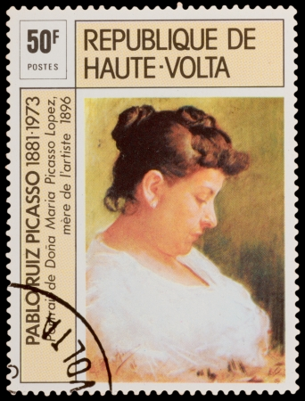 pablo: HIGH-VOLTA - CIRCA 1973: A stamp printed in the HIGH-VOLTA, shows drawing by Pablo Picasso Portrait of Donna Maria Picasso Lopez, circa 1973 Editorial