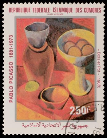 pablo: Comore - CIRCA 1981: Un timbro stampato nelle Comore, mostra dipinto di Pablo Picaso, circa 1981 Editoriali