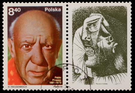 printmaker: POLAND - CIRCA 1981: A stamp printed in the POLAND, shows Pablo Picasso (1881-1973), circa 1981