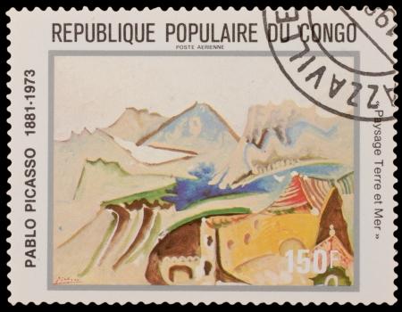 ceramicist: CONGO - CIRCA 1981: A stamp printed in the CONGO, shows painting by Pablo Picaso, circa 1981