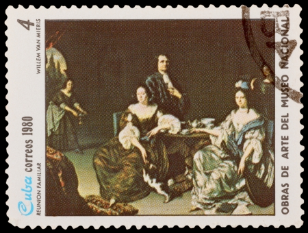 CUBA - CIRCA 1980: A stamp printed in the CUBA, shows Family Reunion, by Willem van Mieris, circa 1980