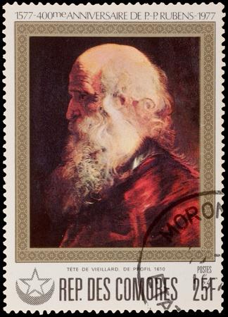comores: COMORES - CIRCA 1977: A stamp printed in the COMORES, shows painting by Rubens, circa 1977