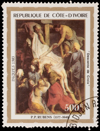 COTE-DIVOIRE - CIRCA 1983: A stamp printed in the COTE-DIVOIRE, shows painting by Rubens, circa 1983