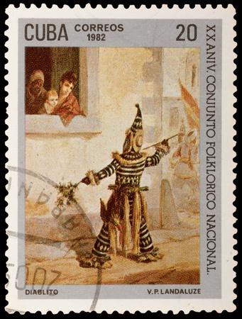 vp: CUBA - CIRCA 1982: A stamp printed in the CUBA, shows Little Devil, by V.P. Landaluze, circa 1982