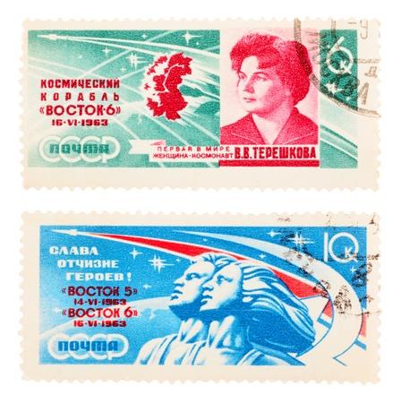 tereshkova: URSS - CIRCA 1963: Una serie di francobolli stampati in URSS, mostra lo spazio Topics, circa 1963