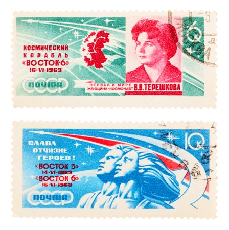 tereshkova: USSR - CIRCA 1963: A set of postage stamps printed in the USSR, shows Topics space, circa 1963