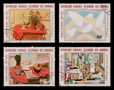 printmaker: COMORES - CIRCA 1981: A set of postage stamps printed in the COMORES, shows paintings by Pablo Picaso, circa 1981