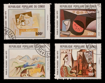 printmaker: CONGO - CIRCA 1981: A set of postage stamps printed in the CONGO, shows paintings by Pablo Picaso, circa 1981