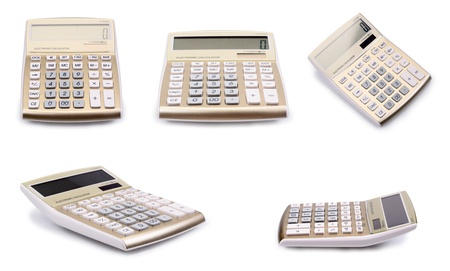 Set of a calculators isolated on a white background photo