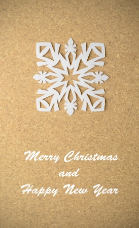 Vintage Christmas postcard with true paper snowflake photo