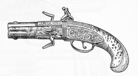 flintlock pistol: USSR - CIRCA 1993: Illustration from the textbook Small Arms, published in the Ussr shows double-barreled flintlock pistol , circa 1993 Editorial