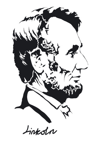 abraham lincoln isolated on a white background Vectores