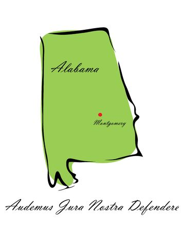 memorize: Vector illustration map Alabama is one of the states of America isolated on a white backgroundŒ