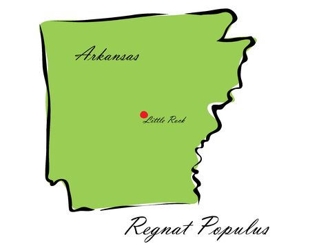 memorize: Vector illustration map Arkansas is one of the states of America isolated on a white backgroundŒ