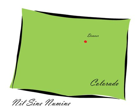memorize: Vector illustration map Colorado is one of the states of America isolated on a white backgroundΠIllustration