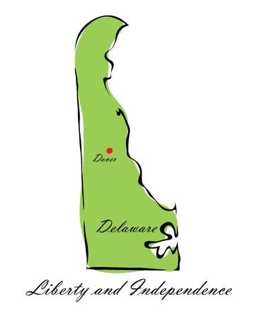 memorize: Vector illustration map Delaware is one of the states of America isolated on a white backgroundŒ