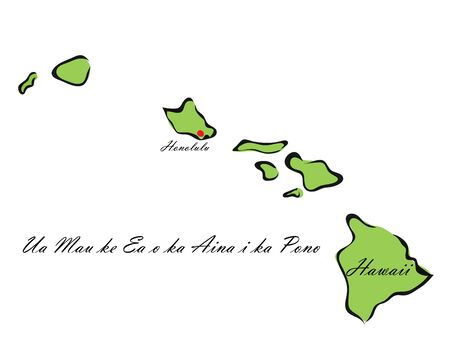 Vector illustration map Hawaii is one of the states of America isolated on a white backgroundÂŒ