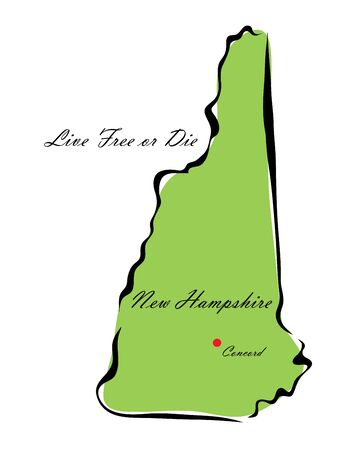 memorize: Vector illustration map New Hampshire is one of the states of America isolated on a white backgroundΠIllustration