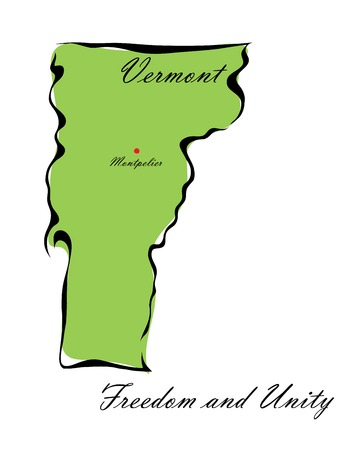 memorize: Vector illustration map Vermont is one of the states of America isolated on a white backgroundŒ