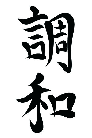 japanese characters: Japanese characters. Translation harmony. Vector illustration isolated on a white backgroundŒ