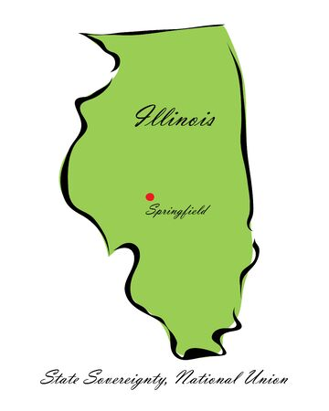 memorize: Vector illustration map Illinois is one of the states of America isolated on a white backgroundΠIllustration