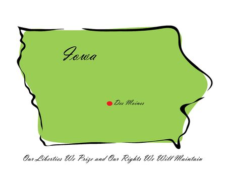 memorize: Vector illustration map Iowa is one of the states of America isolated on a white backgroundΠIllustration