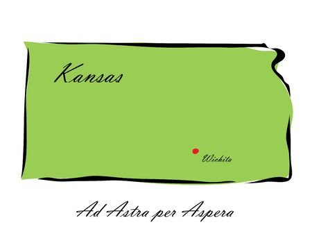 memorize: Vector illustration map Kansas is one of the states of America isolated on a white backgroundŒ