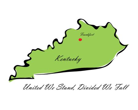 memorize: Vector illustration map Kentucky is one of the states of America isolated on a white backgroundΠIllustration