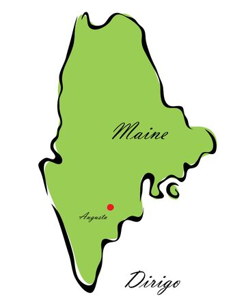 memorize: Vector illustration map Maine is one of the states of America isolated on a white backgroundΠIllustration