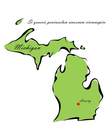 memorize: Vector illustration map Michigan is one of the states of America isolated on a white backgroundŒ