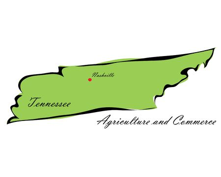 memorize: Vector illustration map Tennessee is one of the states of America isolated on a white backgroundŒ