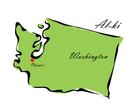 memorize: Vector illustration map Washington is one of the states of America isolated on a white backgroundÂŒ