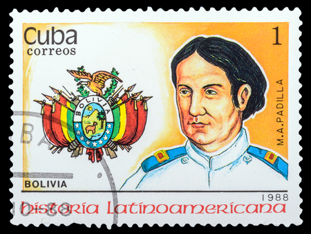 padilla: CUBA- CIRCA 1988: a stamp printed in the Cuba, shows coat of arms portrait of M. A. Padilla, series Latin American history, circa 1988