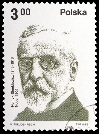 laureate: POLAND - CIRCA 1982: a stamp printed in the Poland, shows Henryk Sienkiewicz-Polish writer, Nobel laureate, circa 1982
