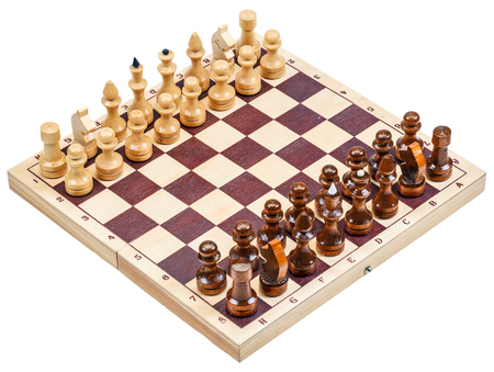chess board: chess with a chess board isolated on a white background Stock Photo