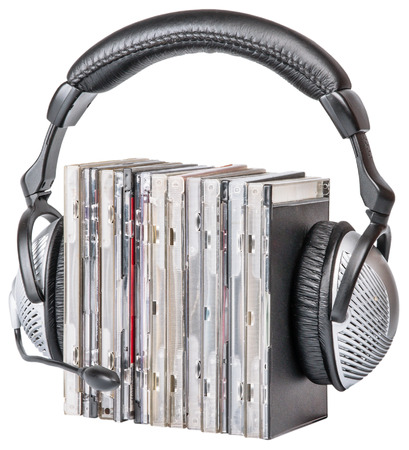 cds: Headphones with CDs isolated on a white background