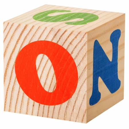 english letters: The letter O. wooden blocks with letters of the English alphabet isolated on a white background