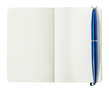 Open diary with pen isolated on a white background