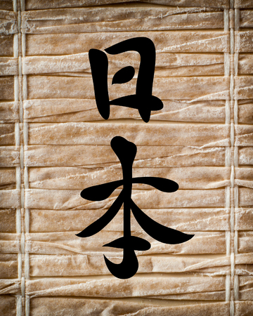 cryptography: Japanese characters. Translation Japan, on a bamboo background
