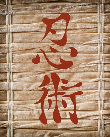 ninjutsu: Japanese characters. Translation ninjutsu, on a bamboo background