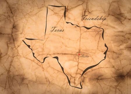 memorize: Map Texas of America on the old faded paper