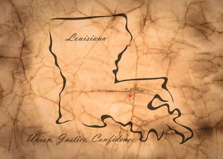 memorize: Map Louisiana of America on the old faded paper