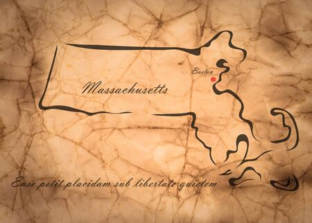 memorize: Map Massachusetts of America on the old faded paper